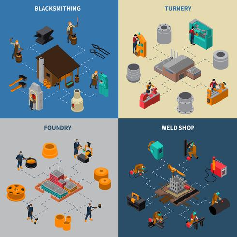 Metalworking 4 Isometric Icons Square Poster