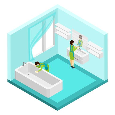 People Cleaning Bathroom Illustration