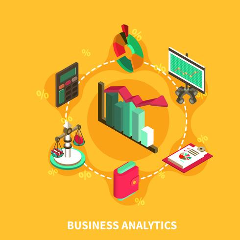 Business Analytics Isometric Round Composition