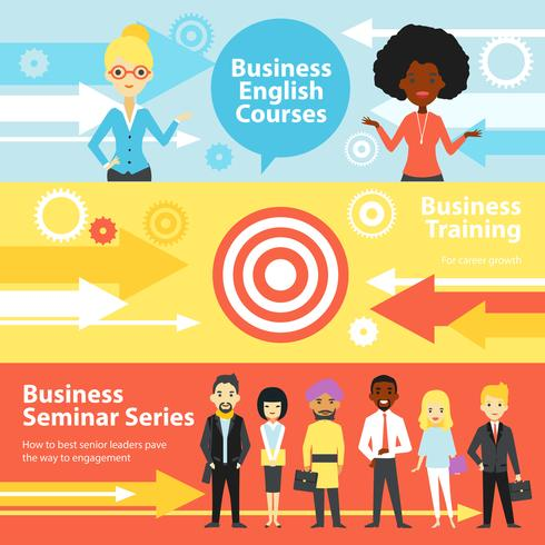 Business Training Horizontal Banners vector