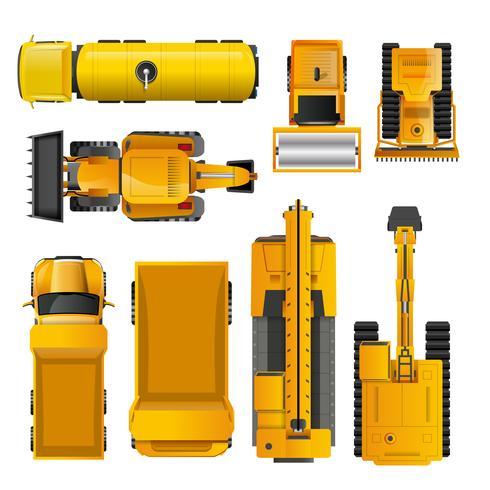 Máquinas de construcción vista superior vector
