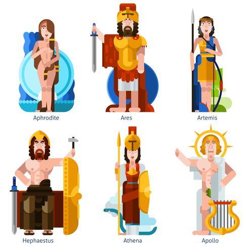 Ensemble d'icônes dieux olympiques couleur plat