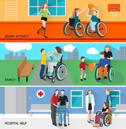 Disabled People Horizontal Banners Set vector