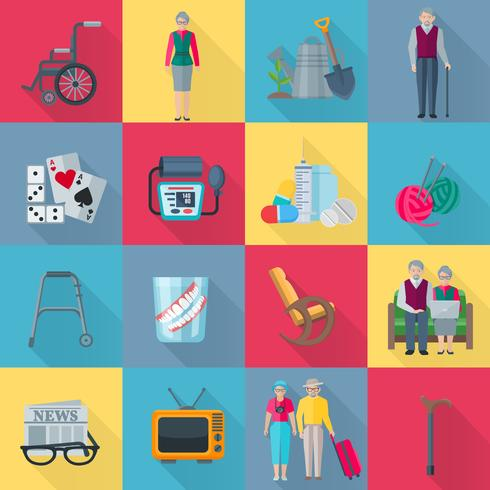 Pensioners Icons Set