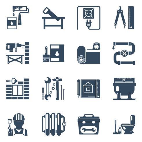 Collection d'icônes noires de réparation à domicile vecteur