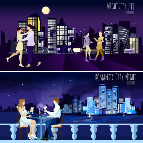 stad nightscape achtergrond 2 banners set vector