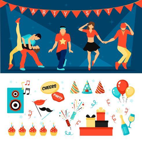 Party horizontal banner set vector