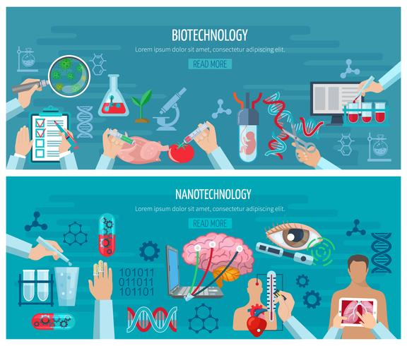 Bannières horizontales pour la biotechnologie et la nanotechnologie