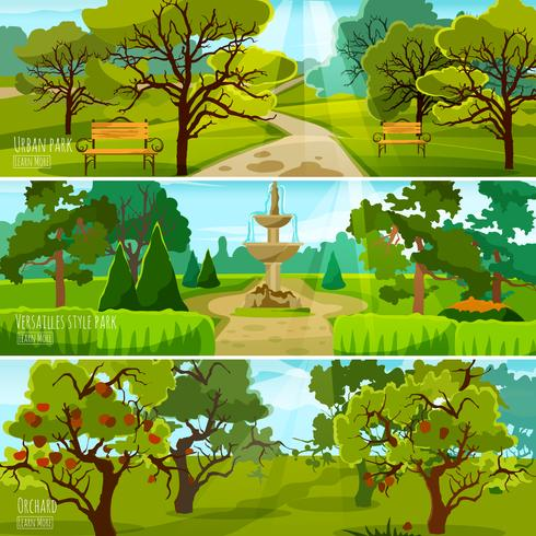 Banners de paisagem de jardim