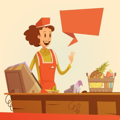 Ilustração retro de vendedora