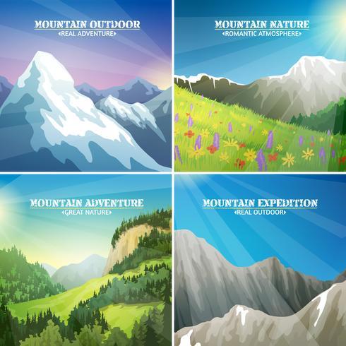Paisajes de montaña 4 iconos planos cuadrados vector