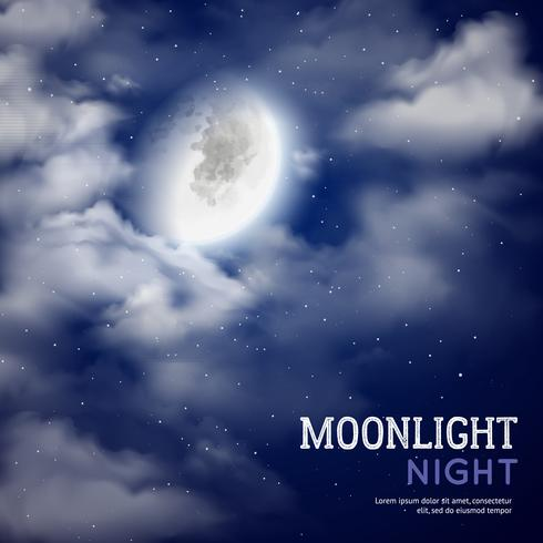 Illustrazione di notte al chiaro di luna