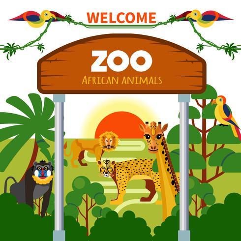 Zoológico de animales africanos vector