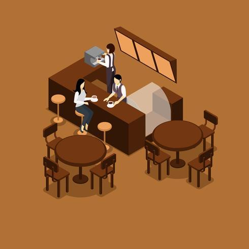Waitress Isometric Illustration