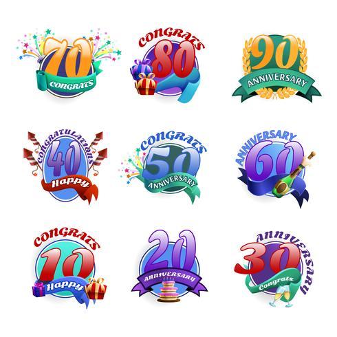 Conjunto de emblemas de aniversario. vector