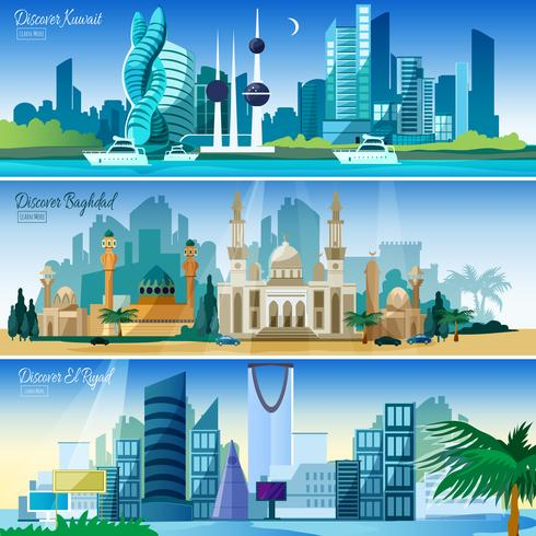 Conjunto de Banners horizontales de paisaje urbano árabe