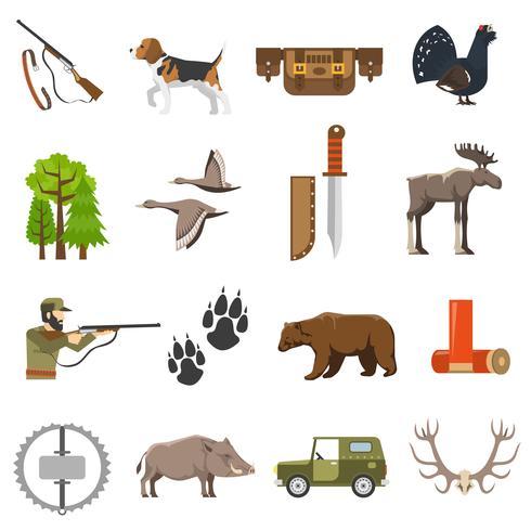 Icone di caccia a colori piatto vettore