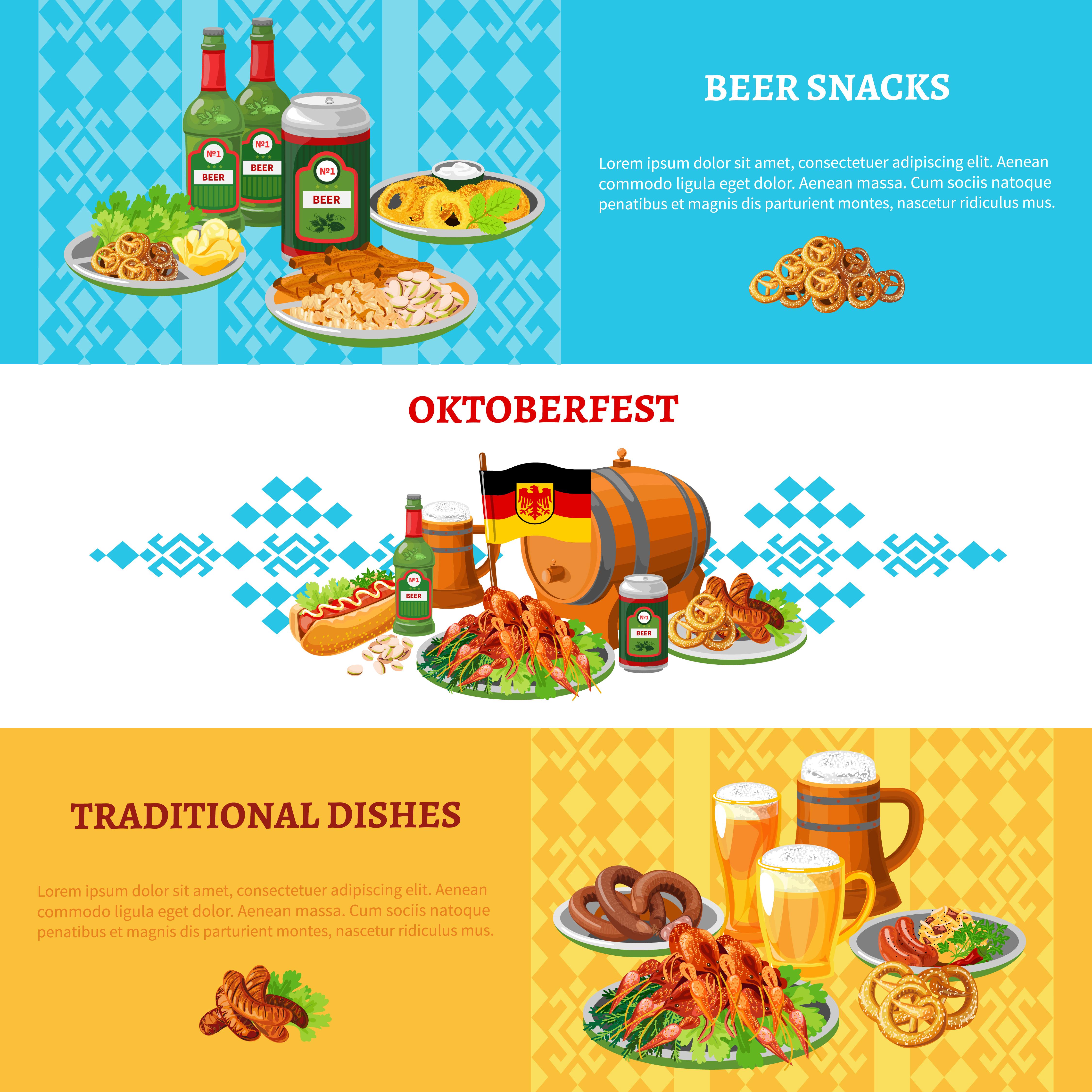 Oktoberfest Flat Horizontal Banners Set - Download Free ...