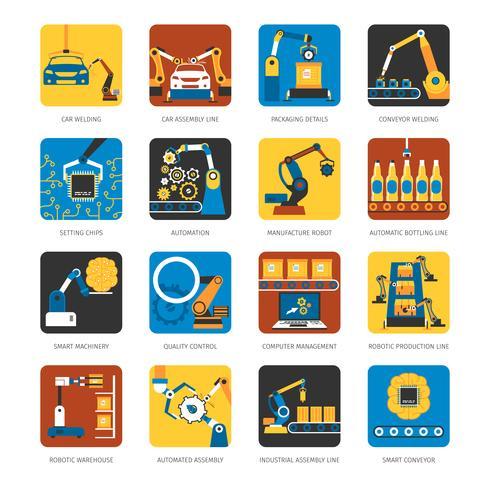 Ensemble d'icônes plat ligne d'assemblage industrielle vecteur