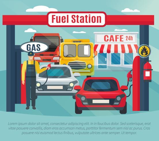 Illustrazione del fondo della stazione di servizio vettore