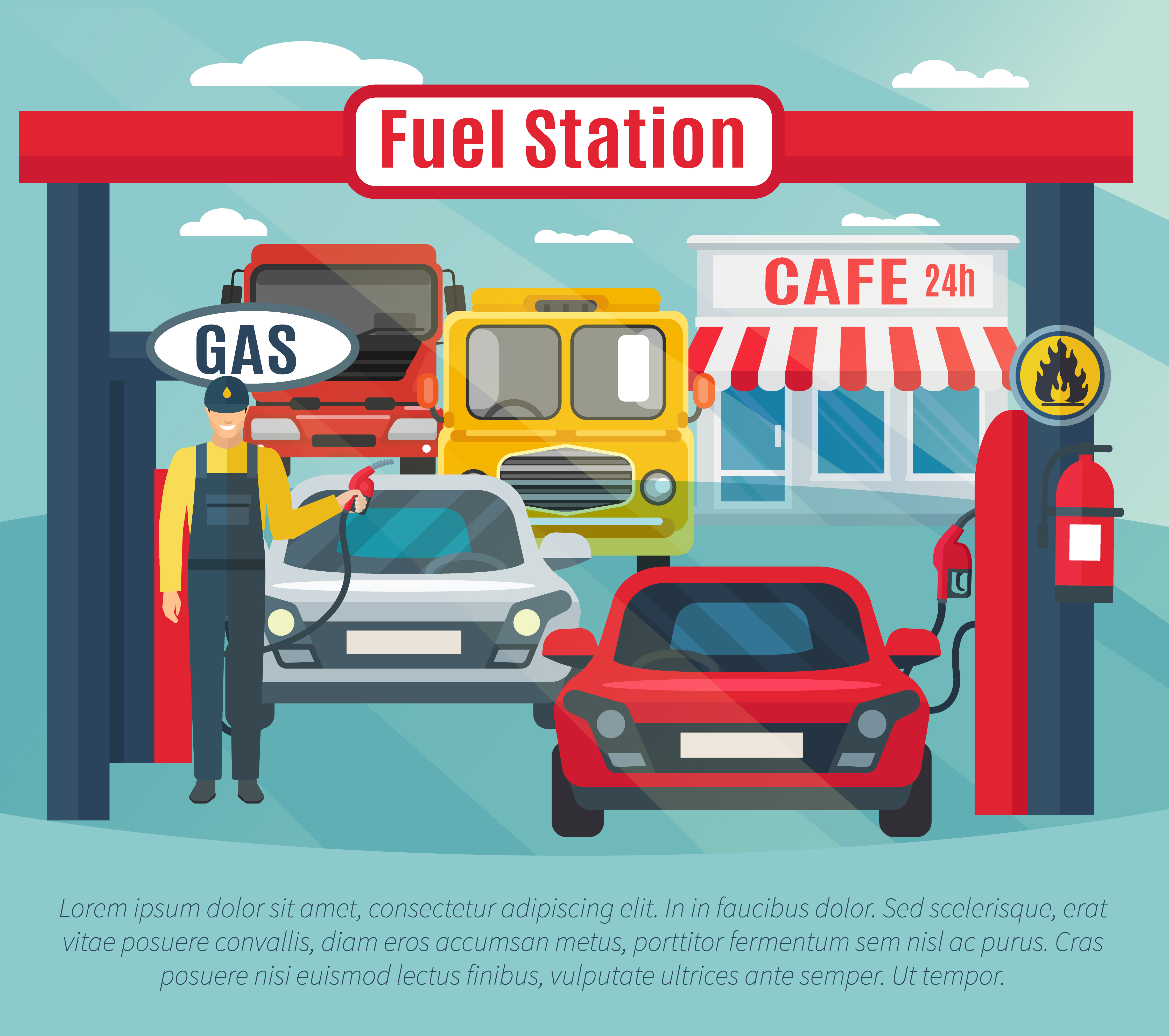 Gas Station Background Illustration Download Free