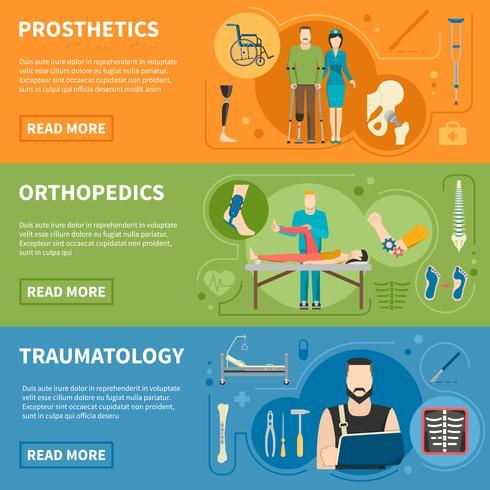 Banners horizontales de traumatologia ortopedica vector