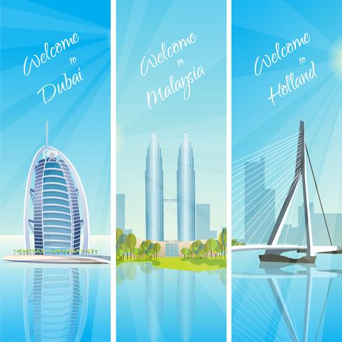 .modern cityscapes 3 banners set vector