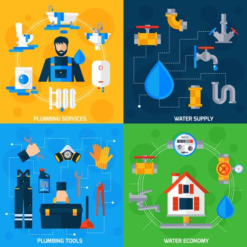 Plumber Service 4 Flat Icons Square  vector
