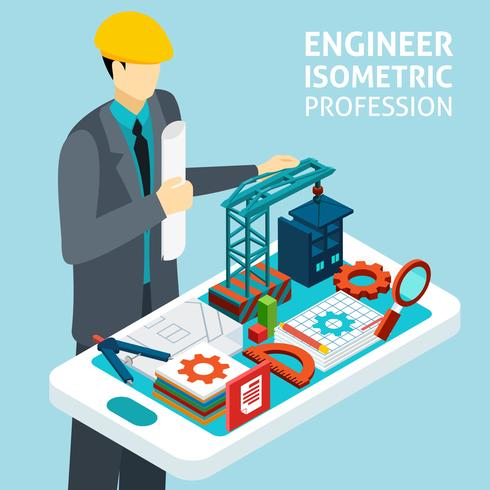 Profession Engineer Concept Isometric Banner  vector