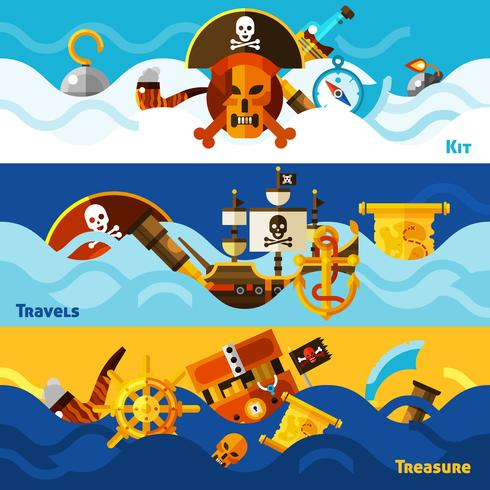 Pirates Horizontal Banners Set vector