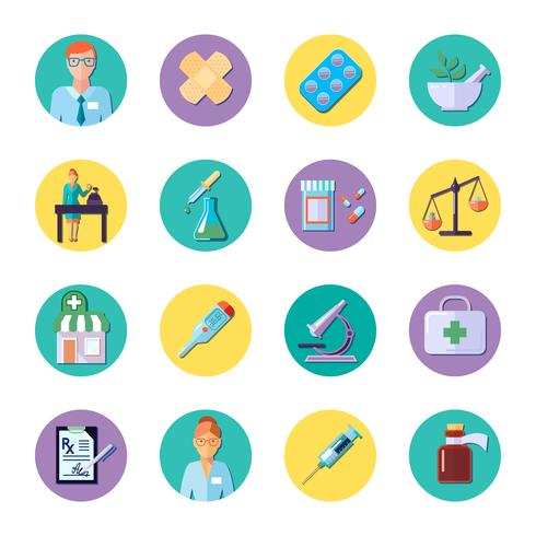 Pharmacie en cercle Icon Set