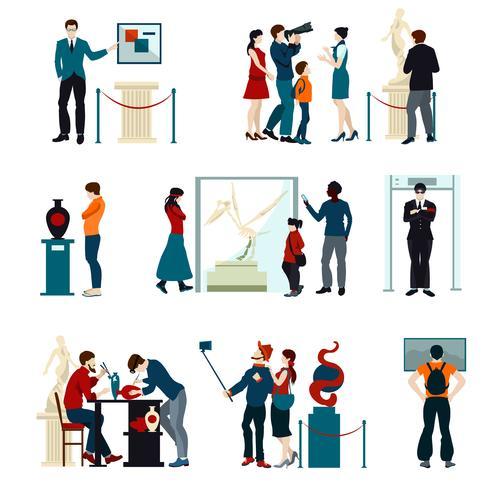 Conjunto de iconos de colores de personas que visitan la exposición vector