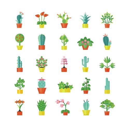 House Plants Flat Icons Set