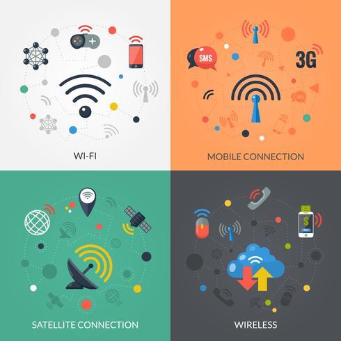 Tecnología inalámbrica 4 iconos planos cuadrados