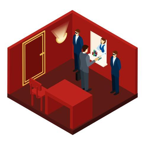 Casino y juegos de azar ilustración isométrica vector