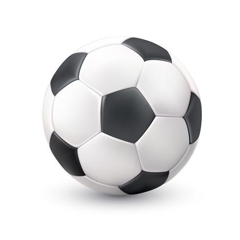 Balón de fútbol realista blanco negro foto