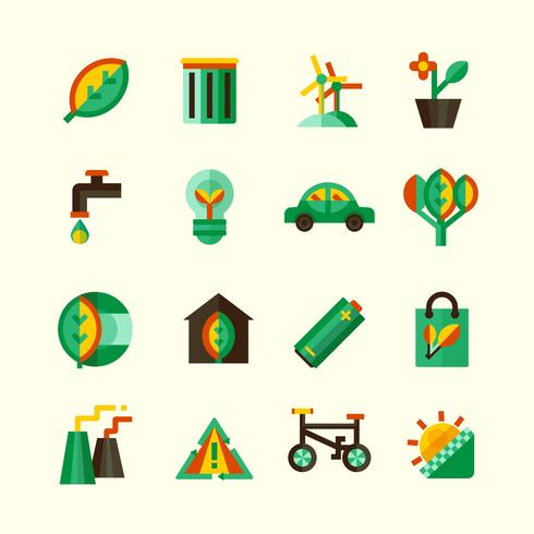 Ecologie Icons Set vector