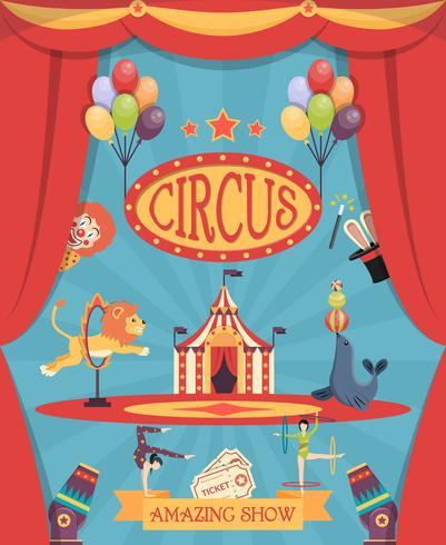 Impresionante cartel de circo vector