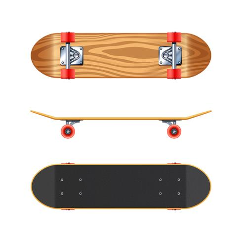Skateboard Deck Side Bottom Realistic Illustration
