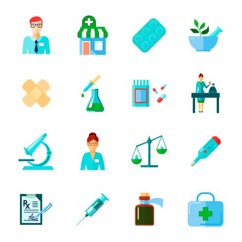Pharmacien Icon Set Plat