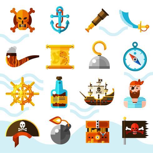 Set di icone di colore di pirati vettore