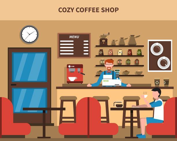 Coffee Shop Bar interior Retro Flat Banner vector