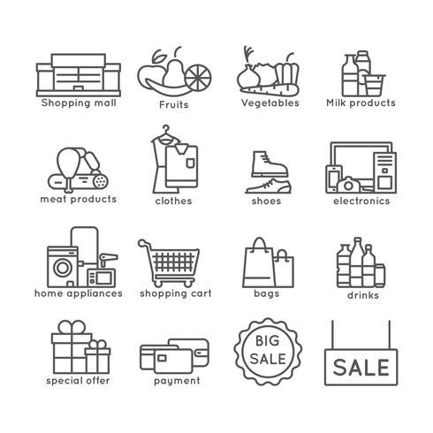 Set de linea de compras vector