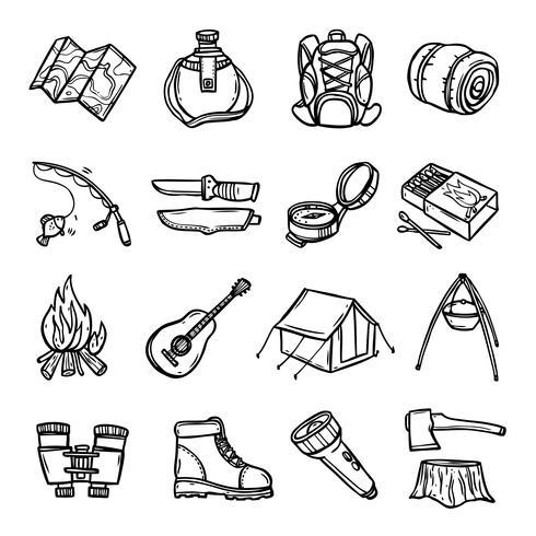 Camping Black White Icons Set