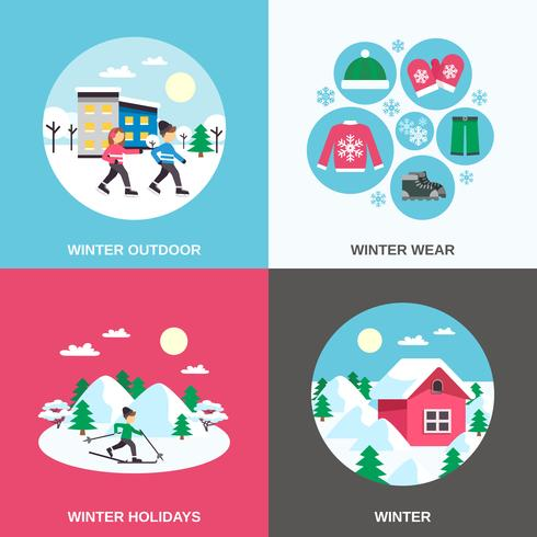 Winter 4 Flat Icons Square Banner vector