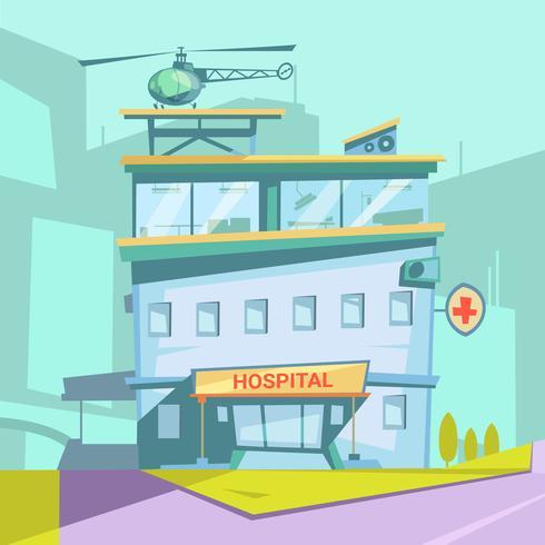 Ospedale edificio retrò dei cartoni animati vettore