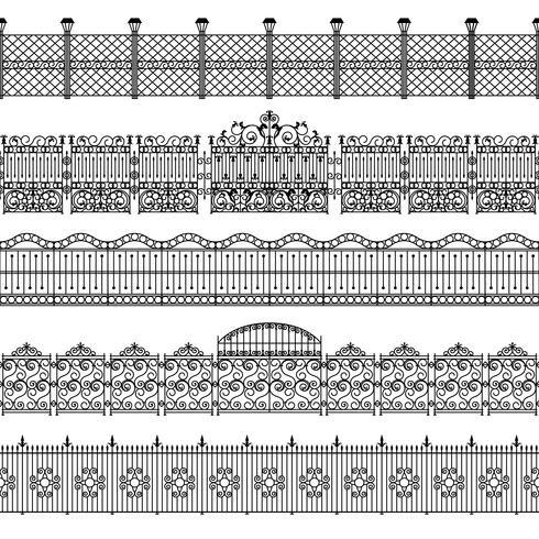 Set di schemi bordo di recinzioni vettore