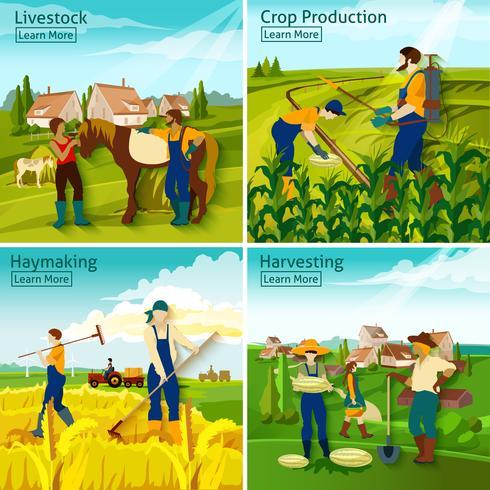Farming 2x2 Design Concept vector