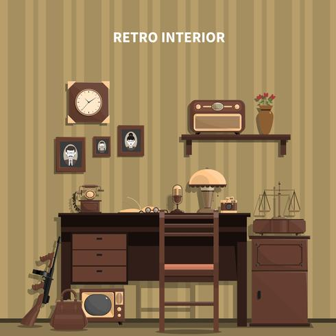Retro interieur illustratie