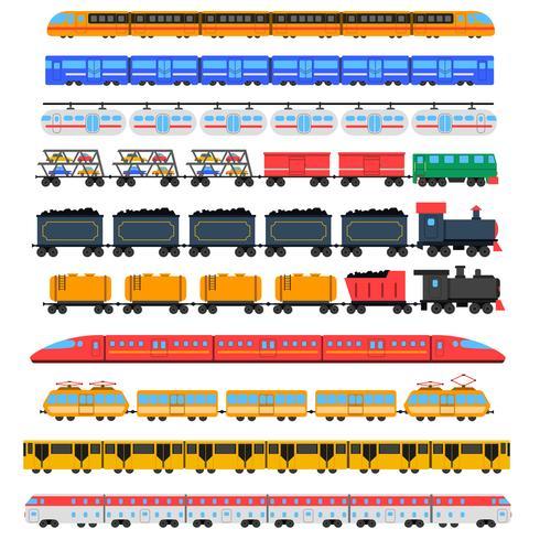 Conjunto de iconos de tren vector